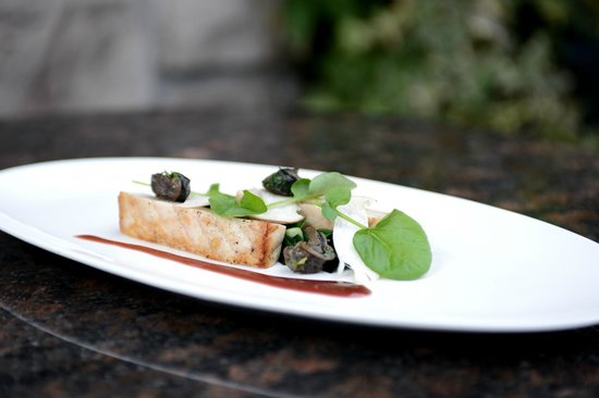 Fish Story Restaurant: Butter Roasted Sturgeon, with leek greens, wild escargot confit, and red wine sauce