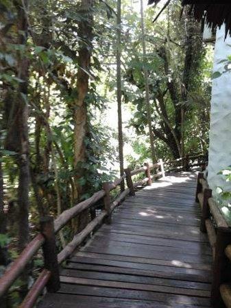 Somkiet Buri Resort: wood path to my room