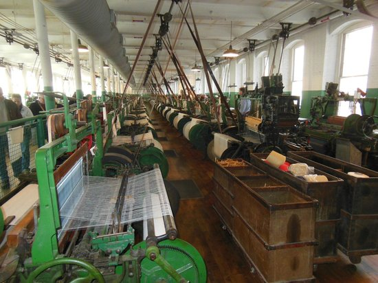 Lowell National Historical Park: An entire floor of machines occupies the first level