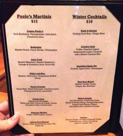 Paolo's Ristorante: Cocktail Menu