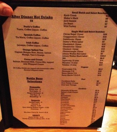 Paolo's Ristorante: After-Dinner Drink Menu
