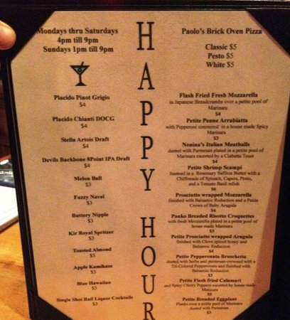 Paolo's Ristorante: Happy Hour Offerings
