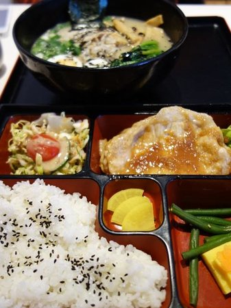 Tamago: Ginger pork Bento Box and Ramen with toppings.