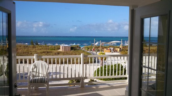 "Beach House Turks & Caicos: View from ""Dunes"" a 2nd floor Oceanfront Deluxe Room. Has huge walk out deck with 180 views."