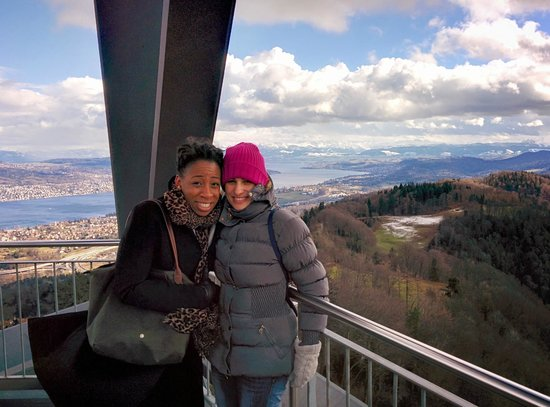 Uetliberg Mountain: Top of the viewing tower freezing in the wind but maintaining a smile
