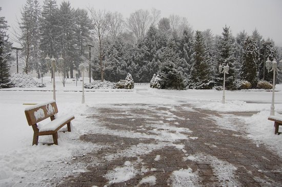 Pocono Palace Resort: looking out from main building into parking lot