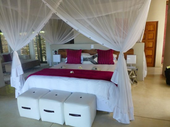 Naledi Bushcamp and Enkoveni Camp: Canopy bed in Impala Lilly