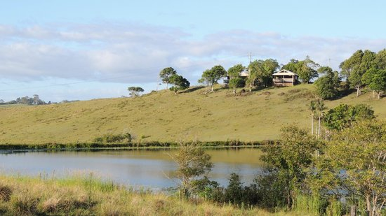 Byron Bay Farmstay: View across the lake to our cottage