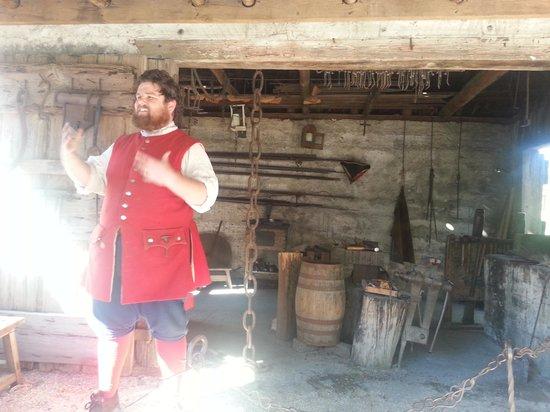 Colonial Quarter: Guide at the blacksmith shop.