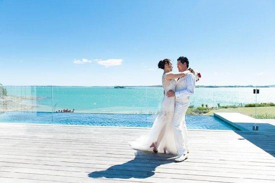Hei Matau Lodge: on the wedding day - beautiful view from Hei Matau