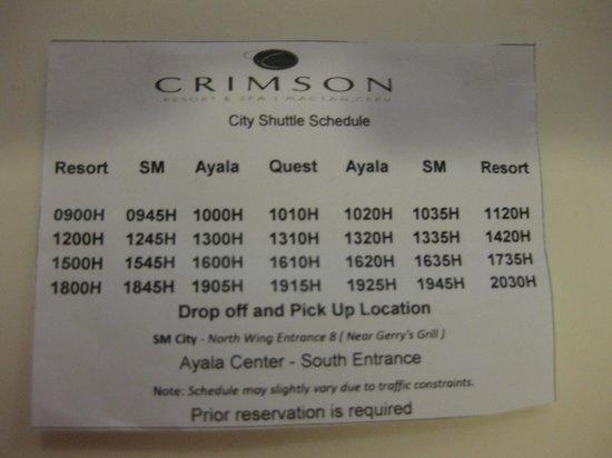 Crimson Resort and Spa, Mactan: ホテルから市内のシャトルバス時間