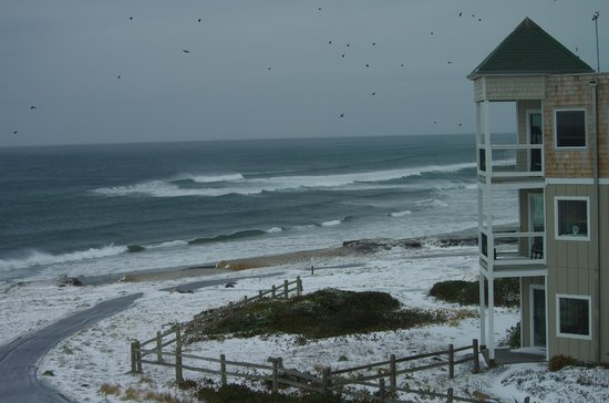 Overleaf Lodge & Spa: This shows snow on the ground between the hotel and ocean, something that almost never happens.