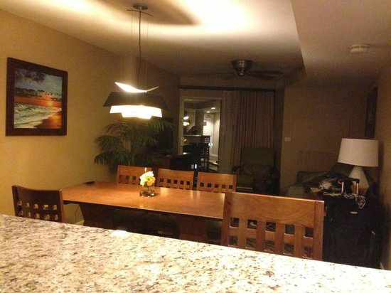 Wyndham at Waikiki Beach Walk: Looking into living & dining area of condo from the kitchen