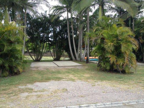 Alex Beach Cabins & Tourist Park : empty concrete slab overlooking pond