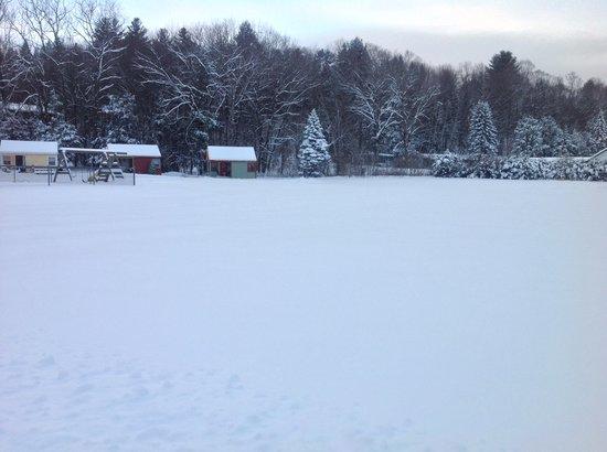 Valley Brook Cottages: Back drop of winter