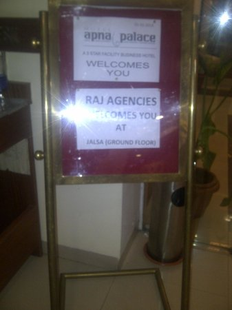 Hotel Apna Palace : The placard at the Entrance of JALSA - Banquet Hall