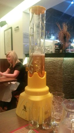 Saranya Thai Restaurant & Bar: The highly recommended beer tower! £18 for 5 pints.