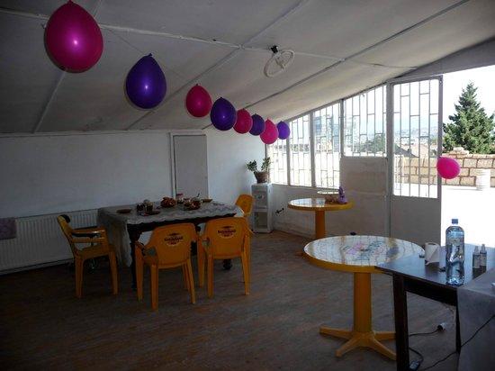 Waltzing Matilda City Hostel : common room (temporary decoration)