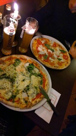 Luigi's Pizzeria & Pasteria: Two pizzas and beer