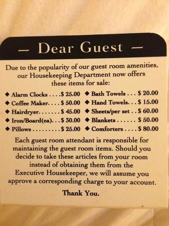 Clarion Inn: Haha, They don't even trust their guests!