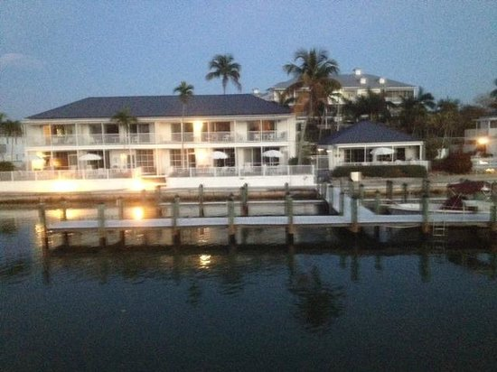 The Boat House Motel: View of condo and patio from Island Princess tour boat on Collier Bay