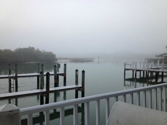 The Boat House Motel : Misty morning view toward mouth of Collier Bay (toward Gulf) form patio outside condo