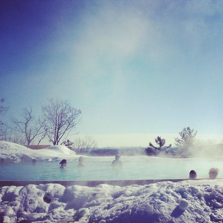 Nordik Spa-Nature: infinity pool with view of ottawa in background