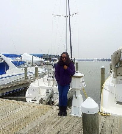 Dockside Restaurant and Tiki Bar: In front of the Dockhouse:  cold but it was well worth it