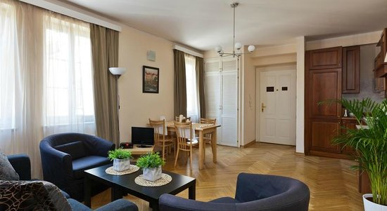 Lovely Prague Apartments: Living room + Kitchen
