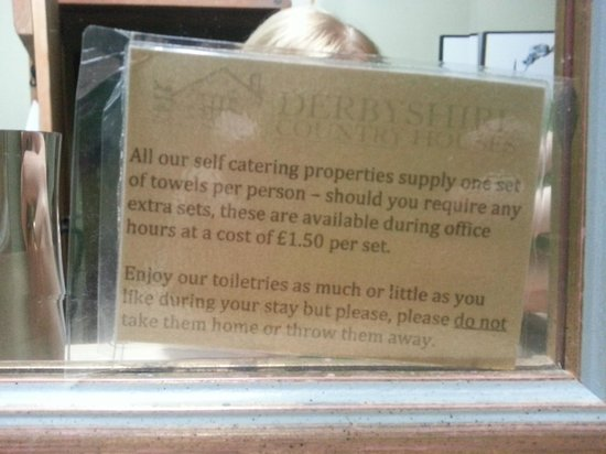 Harthill Hall Holiday Cottages: a notice that shows trust in one's guests