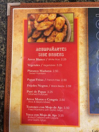 Latin Cafe 2000: Menu options include two types of plantains