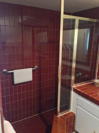 Laguna Beach Lodge: Cute, red tile shower stall.