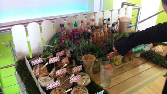 The Spot: All the goodies for the bloody mary bar. Sat and Sun noon to 5.