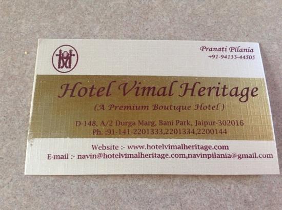 Hotel Vimal Heritage: Business Card