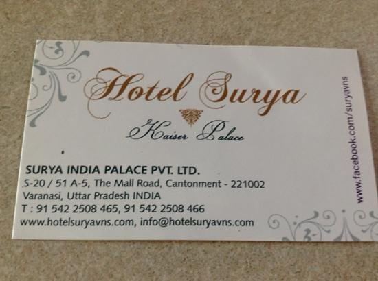Hotel Surya, Kaiser Palace: Business Card