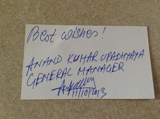 Hotel Surya, Kaiser Palace: Nice note from General Manager