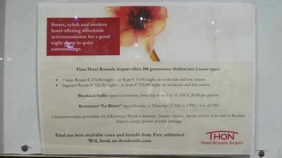 Thon Hotel Brussels Airport : Prices for a stay and hotel features
