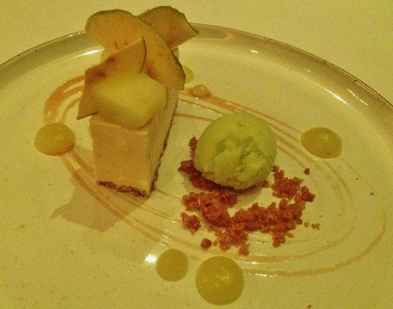 Bybrook Restaurant - Manor House Hotel: Burnt butter parfait with apple crisps and green apple sorbet