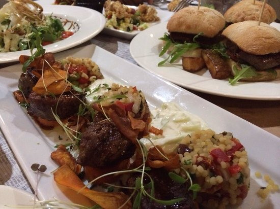 Deck Eatery & Bar: Lamb medallions, Beef sliders, Pear and rocket salad