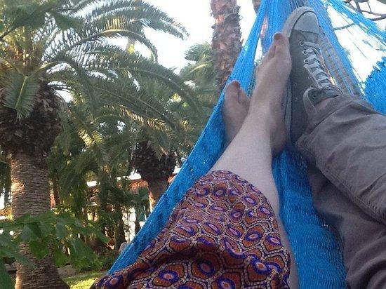 Boardwalk Hotel Aruba: Enjoying the hammock outside our Casita