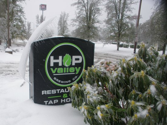 Hop Valley Brewing Company : Ice cap slides as weather warms a bit.