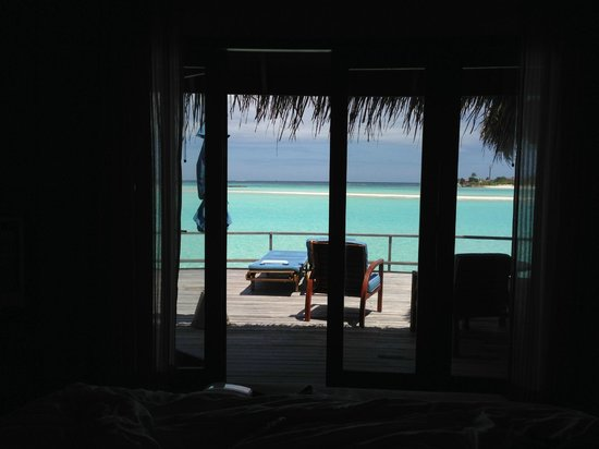 Anantara Dhigu MaldivesResort: View from the overwater villa.  Picture taken from the king size bed which overlooks the ocean