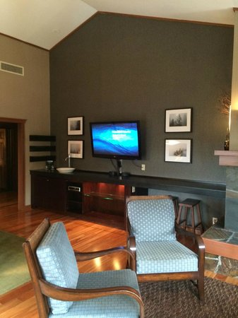 Salish Lodge & Spa: Other part of Suite 424, living room/dining and TV