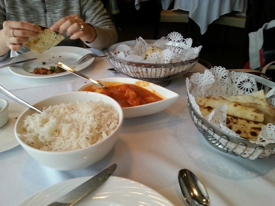 Nawab Indian Cuisine: Seafood Curry w/ Rice.  Nan is extra.