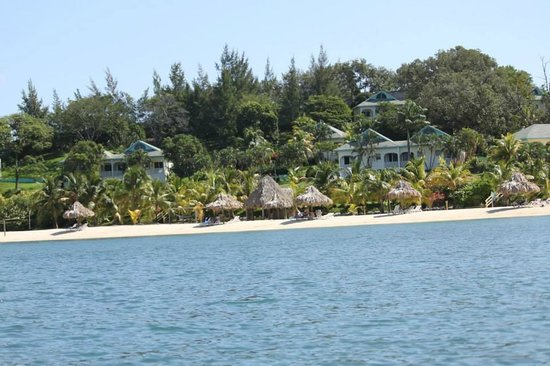 Turquoise Bay Dive & Beach Resort: View of resort from the water