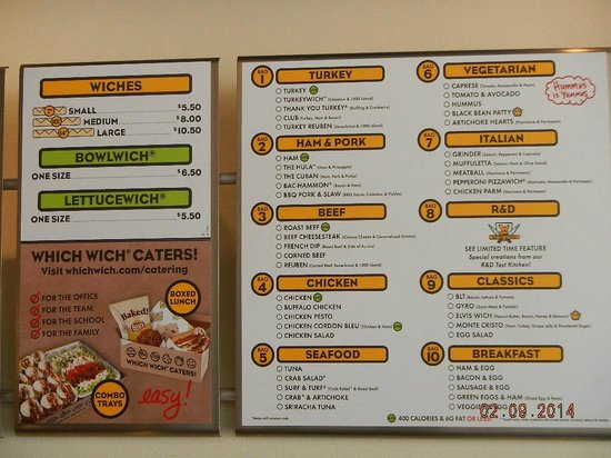 bag menu board picture of which wich harker heights tripadvisor