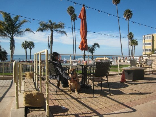 SeaCrest OceanFront Hotel: Terrace area outside main lobby and breakfast room