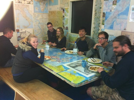 Around the World Backpackers: The dinning area