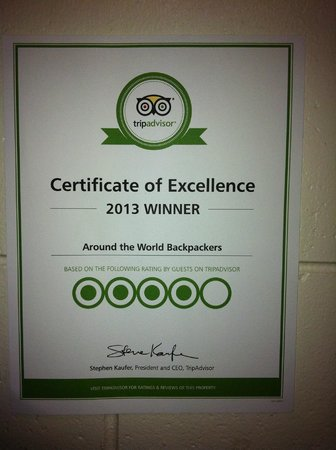 Around the World Backpackers: Certificate of Excellence