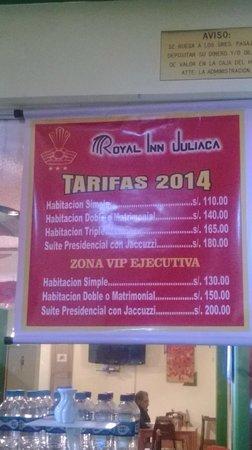Royal Inn Hotel: Tarifario 2014